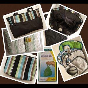 Baby Brown/Blue/Green/Tan Striped Diaper Bag Set